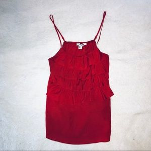 F21 Red Ruffle Cami Blouse